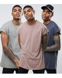 ASOS - Longline T-shirt In Oversized Fit 3 Pack Save - Lyst