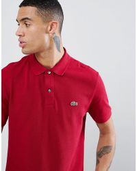 Lacoste - Slim Fit Pique Polo In Burgundy - Lyst