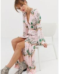 Glamorous Premium Maxi Dress With Button Front In Island Print