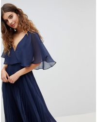 ASOS - Midi Dress With Pleat Skirt And Flutter Sleeve - Lyst