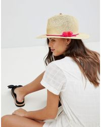 French Connection - Straw Beach Hat With Pom Poms - Lyst