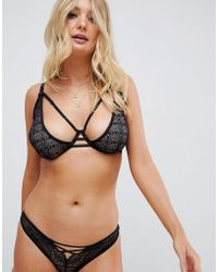 Wolf & Whistle - Lace Up Front Brief In Black - Lyst