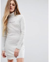Criminal Damage - High Neck Mini Dress With Distressing & Logo - Lyst