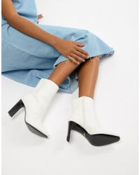 Faith - Betty Slim Heel High Rise Ankle Boots In White - Lyst