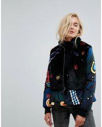 Iceberg - Icerberg Fur Collar Padded Jacket With Peplum Hem - Lyst