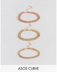 ASOS - Asos Design Curve Pack Of 3 Bracelets In Mixed Size Chain Design - Lyst