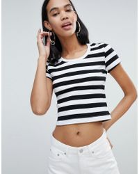 Weekday - Ribbed Stripe Crop Top In Black And White - Lyst
