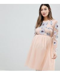 ASOS - Asos Design Maternity Pastel Embroidered Tulle Mini Dress - Lyst