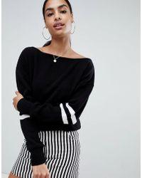PrettyLittleThing - Off Shoulder Jumper With Contrast Stripe In Black - Lyst