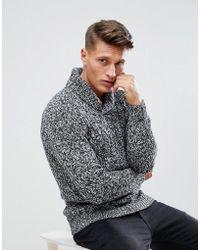 Esprit - Shawl Collar Jumper In Twisted Yarn - Lyst
