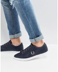 Fred Perry - Baseline Leather Trainers In Navy - Lyst