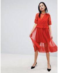 ASOS - Tulle Midi Dress With Ruching - Lyst
