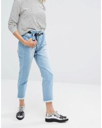 Daisy Street | Mom Jeans With Eyelet Waistband And Raw Hems | Lyst