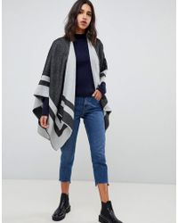 Warehouse - Striped Cape In Grey - Lyst