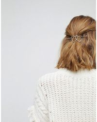 Orelia - Triple Heart Thread Through Hair Clip - Lyst