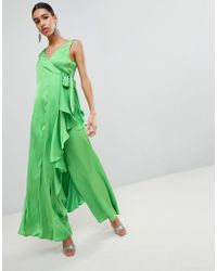 ASOS - Asos Satin Jumpsuit With Waterfall Wrap - Lyst