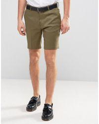 ASOS | Slim Smart Short In Khaki Linen Mix | Lyst
