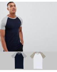 ASOS DESIGN - Muscle Fit Raglan T-shirt With Contrast Sleeves 2 Pack Save - Lyst