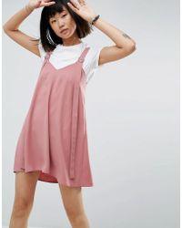 ASOS DESIGN - Asos Buckle Detail Mini Slip Dress - Lyst