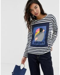 Esprit - Sweatshirt With L'amour Text In Stripe Black And White - Lyst