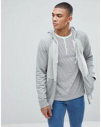 Abercrombie & Fitch | Full Zip Hoodie Contrast Sleeve In Greys | Lyst