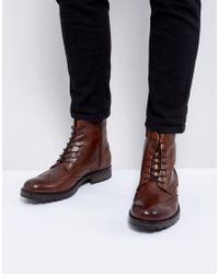 Jack & Jones - Brogue Leather Boots - Lyst
