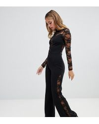 2a6c6e7d737 John Zack - Long Sleeve Jumpsuit With Lace Insert In Black - Lyst