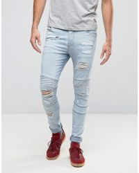 ASOS - Super Skinny Jeans With Rips In Biker Style Bleach Wash - Lyst