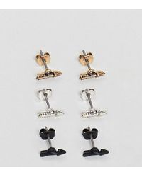 Icon Brand - Arrow Stud Earrings In 3 Pack - Lyst