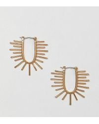 ASOS - Premium Gold Plated Hoop Earrings With Sun Ray Design - Lyst