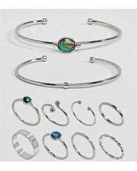 ASOS - Asos Design Curve Exclusive Pack Of 10 Stone Cuff Bracelets And Rings - Lyst