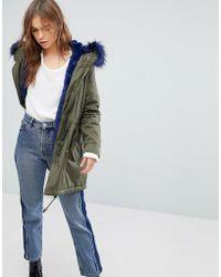 Bershka - Parka Coat With Faux Fur Hood And Trim - Lyst
