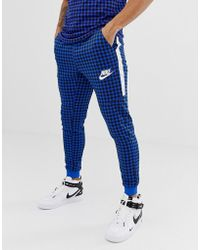 Nike - Gingham Check Joggers In Blue Bq0676-480 - Lyst