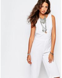 Noisy May Tall - Cropped Jumpsuit With Bandeau Underlay - Lyst