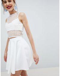 ASOS - Design Full Skater Mini Skirt In Scuba - Lyst
