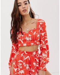 890065e989b ASOS - Bardot Milkmaid Beach Top In Flamenco Floral Stripe Print Co-ord -  Lyst