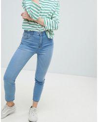 Pull&Bear - High Waist Skinny Jean In Med Blue - Lyst