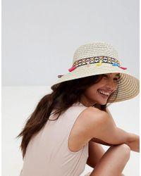 Liquorish - Summer Straw Floppy Hat With Tassel Detail - Lyst