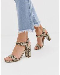 70dedc7ef082c New Look Square Toe Block Heel Sandal in Yellow - Lyst