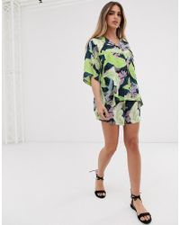 ASOS - Tropical Print Short Two-piece - Lyst