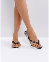 Gandys - Slim Line Flip Flops With Graphic Print - Lyst