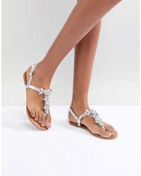 Lipsy - Embellished Flat Sandal - Lyst