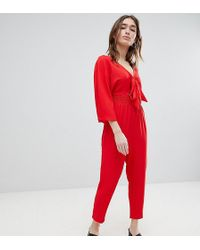 Lost Ink - Jumpsuit With Tie Front And Shirred Waist - Lyst