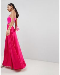 ASOS - Design Scuba Top Tassel Back Pleated Maxi Dress - Lyst