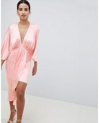 ASOS - Design Midi Plunge Kimono Dress In Satin - Lyst