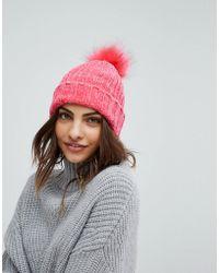Miss Selfridge - Faux Fur Bobble Hat - Lyst