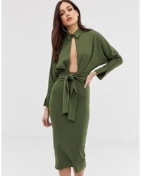 ASOS - Long Sleeve Wrap Shirt Midi Dress - Lyst