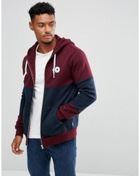 4b85554c99f6 Lyst - Converse Zip-up Hoodie In Block Print In Grey 10003605-a01 in ...