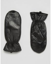 Pieces - Leather Mittens - Lyst