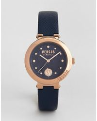 Versus - Sp3708 Lantau Island Leather Watch In Navy - Lyst